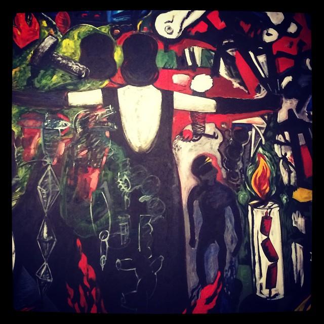 """La Tormenta returns de Glugio """"Gronk"""" Nicandro_1998. Acrylique et huile sur bois [Détail] © DR/Musée d'Aquitaine — FredMJG/Instagram"""