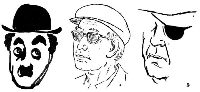 Charlie Chaplin, Akira Kurosawa et John Ford. Quelques croquis signés © Satyajit Ray