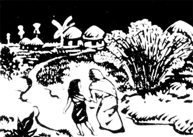 Illustration signée © Satyajit Ray pour un album pour enfants tiré du roman de Bibhouti Boushan Banerji, Pather Panchali