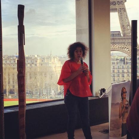 Greta Morton Elangue, fondatrice et directrice du Cinemaap lors de la Conférence de presse du 5 avril 2016 © FredMJG